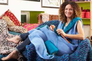 woman-knitting-hobby-at-home